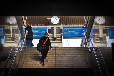 Going up stairs to train platform